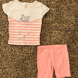 Carter's Toddler Girl Pink Cat Pajamas